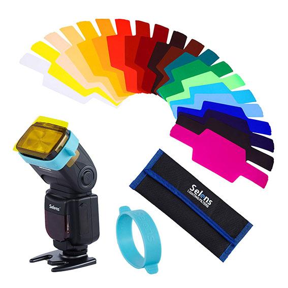 Geles de colores para fotografía con flash de mano