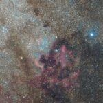 Región de la nebulosa Norteamérica y el Pelícano fotografiados con Canon EOS700D sin modificar a 200mm