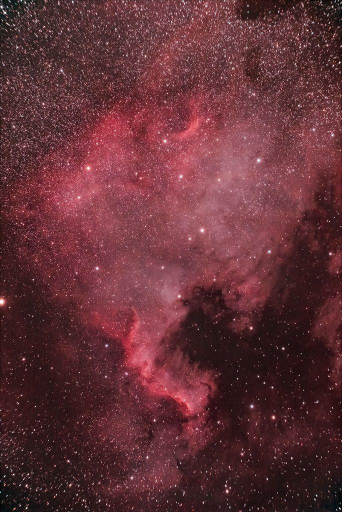 Nebulosa NGC7000 Norteamérica fotografiada con Sky Watcher Evostar 72ED y Sony A6600